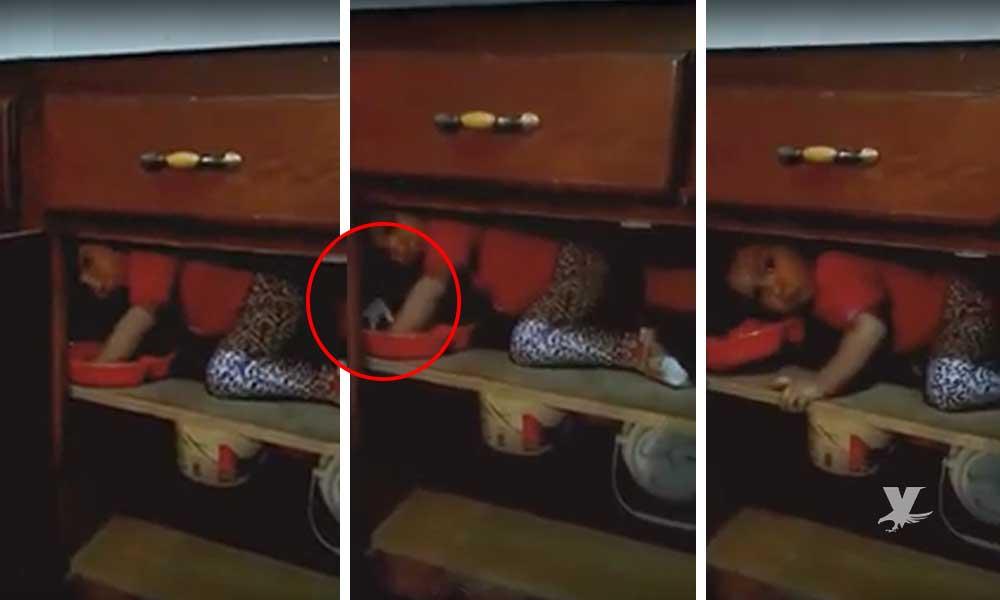 (VIDEO) Graba a su hija adentro de alacena, no se percataron que fueron parte de una actividad paranormal
