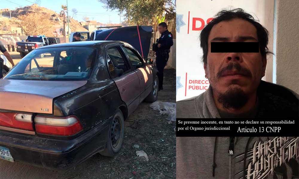 Detenido por conducir auto con piezas robadas en el mirador, en Tecate