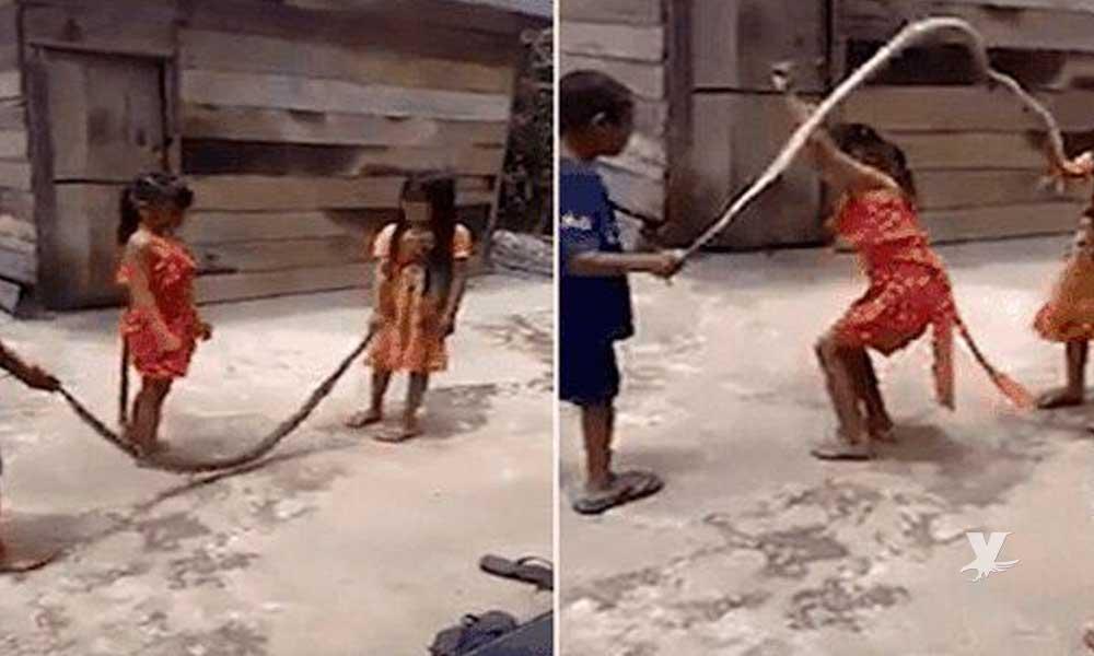 (VIDEO) Niños utilizan víbora muerta para jugar a 'saltar la cuerda'