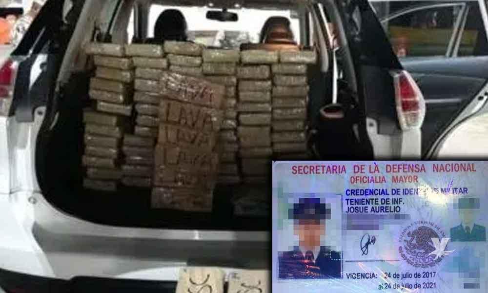 Militar es detenido en retén militar 'El Centinela' con casi 100 kilos de cocaína