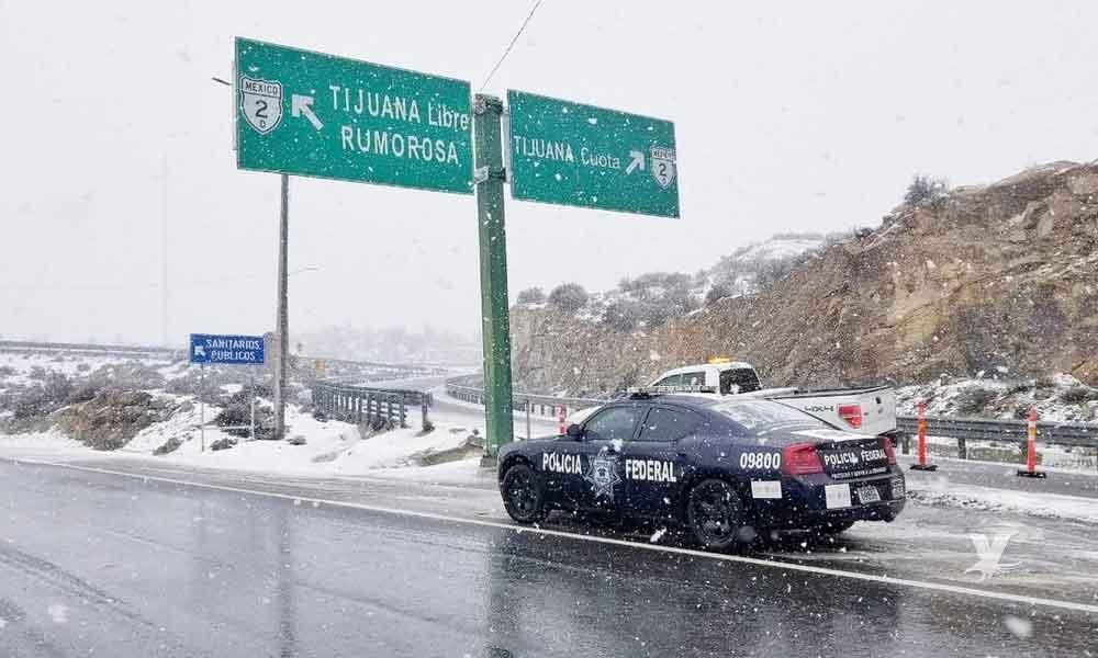 Por la madrugada se reportó la primer nevada en La Rumorosa