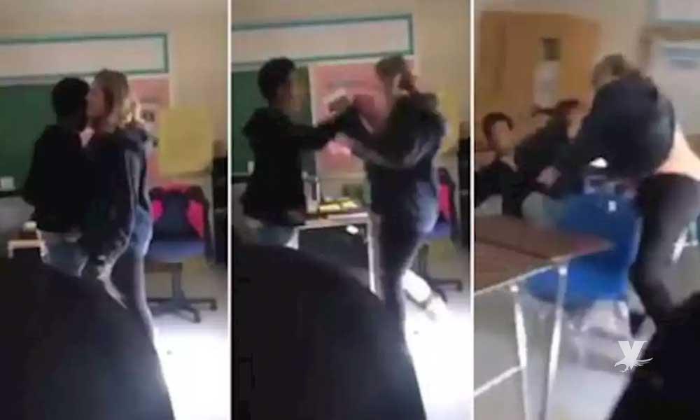 (VIDEO) Maestra y alumno pelean durante una clase