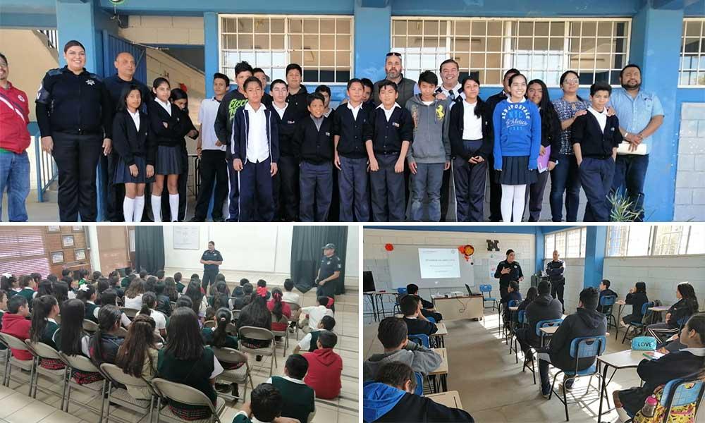 Alumnos de primaria, secundaria y media superior reciben pláticas sobre prevención y seguridad en Tecate