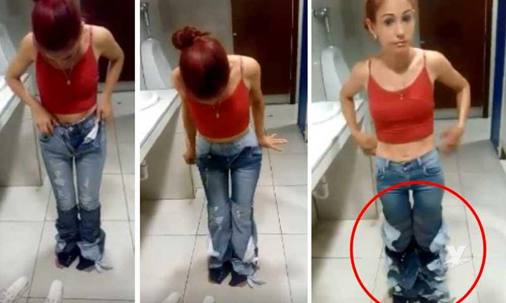 (VIDEO) Mujer es descubierta intentando robar 8 pantalones