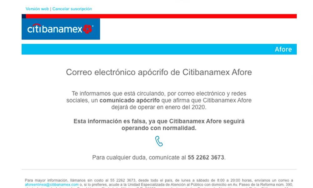 Circula correo falso de Citibanamex Afore