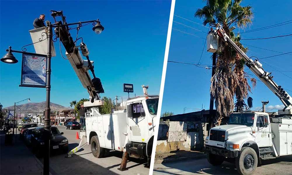 Ayuntamiento de Tecate realiza mantenimiento y reparación de luminarias