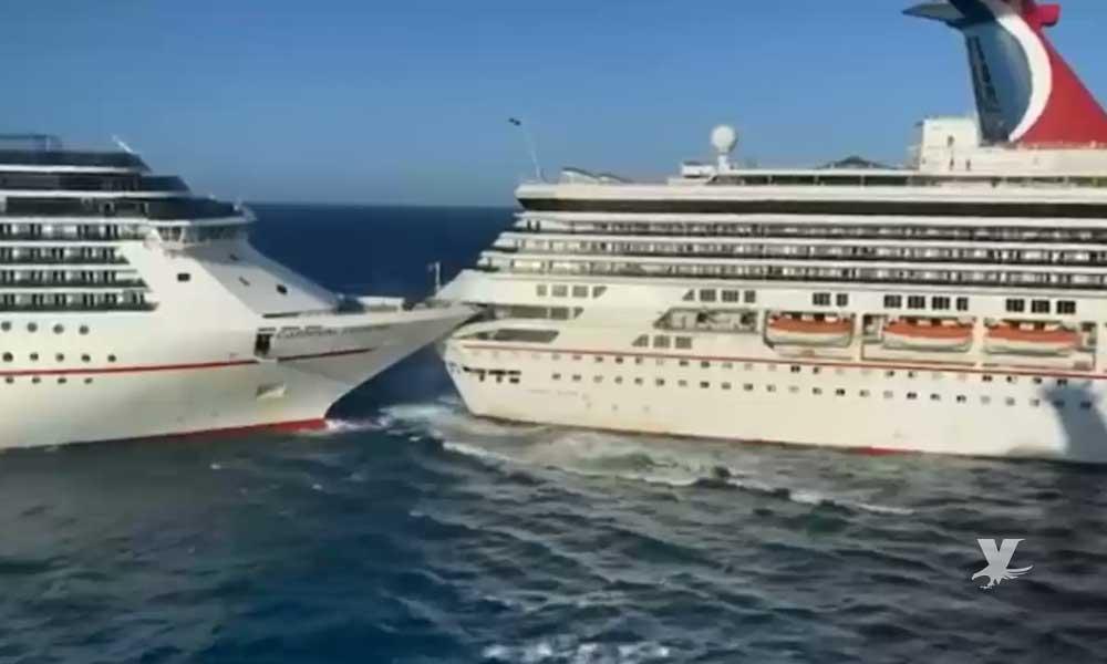 (VIDEO) Fuerte vientos ocasionan que cruceros choquen en Cozumel