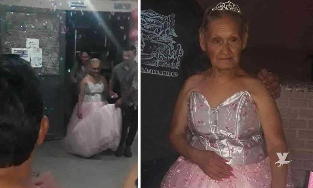 Mujer de 79 años de edad celebra la quinceañera que soñó toda su vida