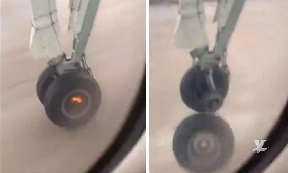 (VIDEO) Pasajero graba el momento en que avión despega y se queda sin un neumático