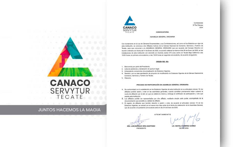 Convoca Canaco a Asamblea General Ordinaria este 28 de enero en Tecate