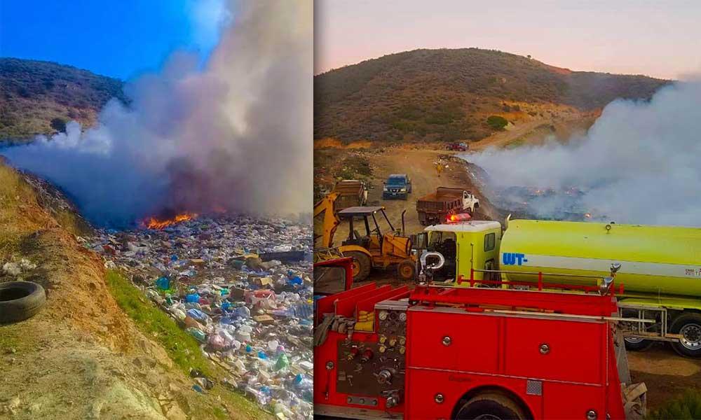 Se registra fuerte incendio en basurero de Nueva Colonia Hindú en Tecate