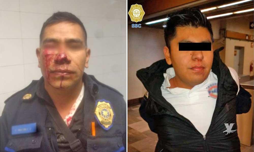 Hombre muerde a policía en la nariz por regañarlo mientras orinaba en vía pública