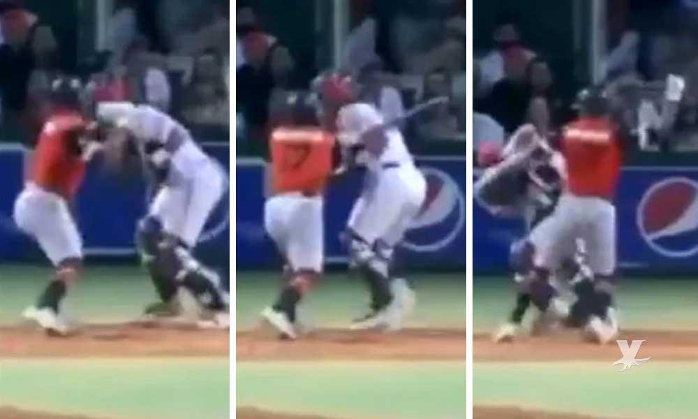 """(VIDEO) Jugador golpea con el bat a catcher después de un """"pelotazo"""""""