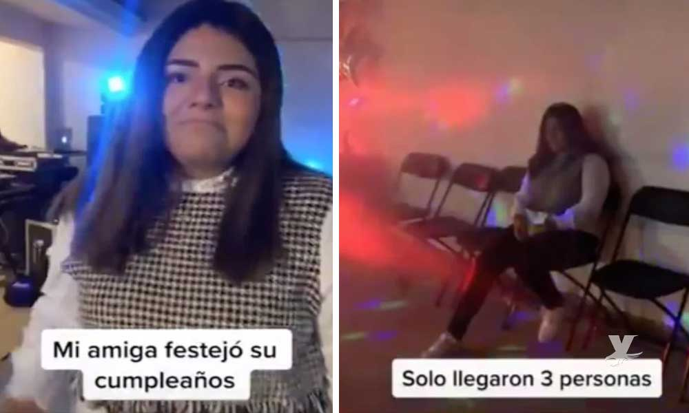 (VIDEO) Joven organiza su fiesta de cumpleaños y solo asistieron 3 personas