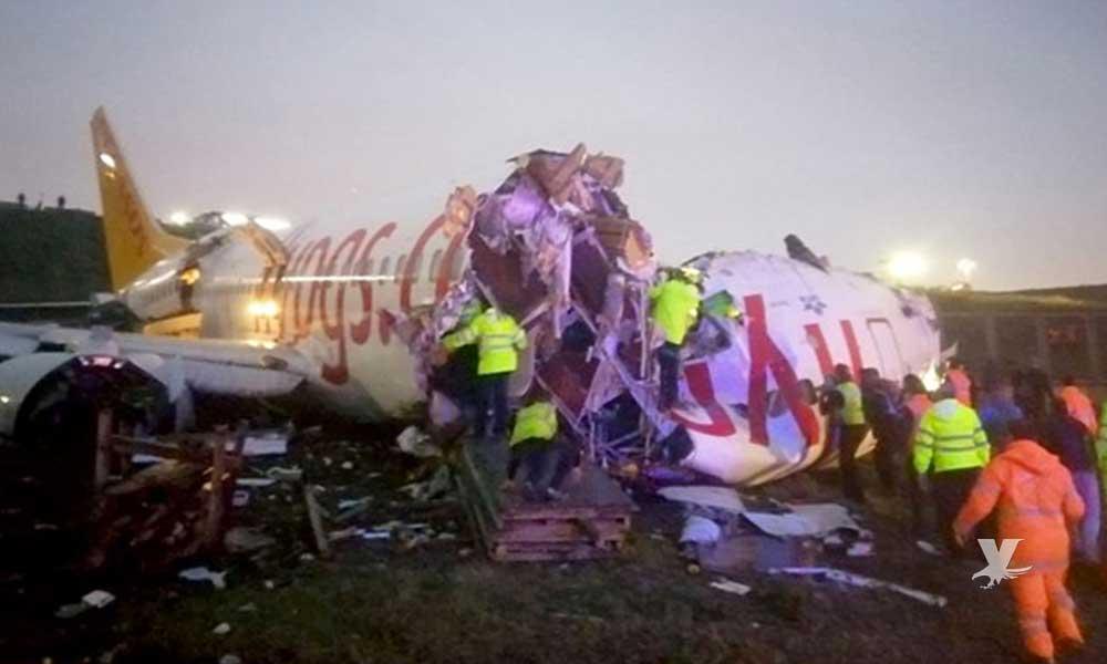 Avión se parte en tres al momento de aterrizar en la pista