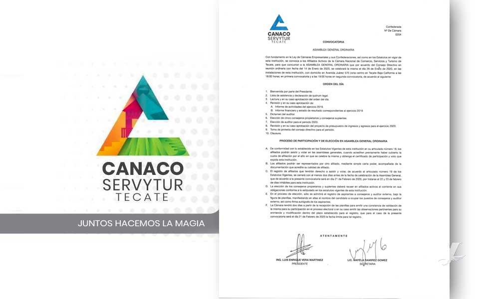Convoca Canaco a Asamblea General Ordinaria este 25 de febrero en Tecate