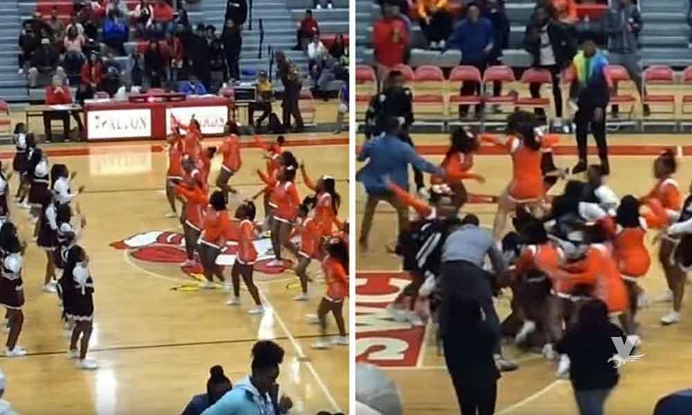 (VIDEO) Grupos de 'Cheerleaders' terminan enfrentándose en pelea campal antes de iniciar el juego