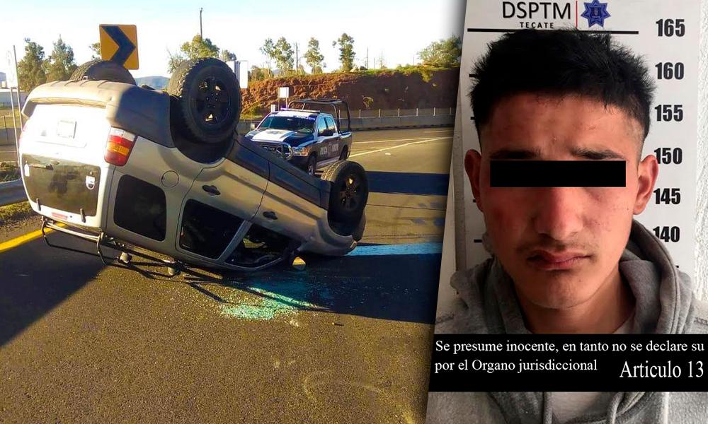 Roba a mercado, se da a la fuga y vuelca en automóvil; Es detenido en Tecate