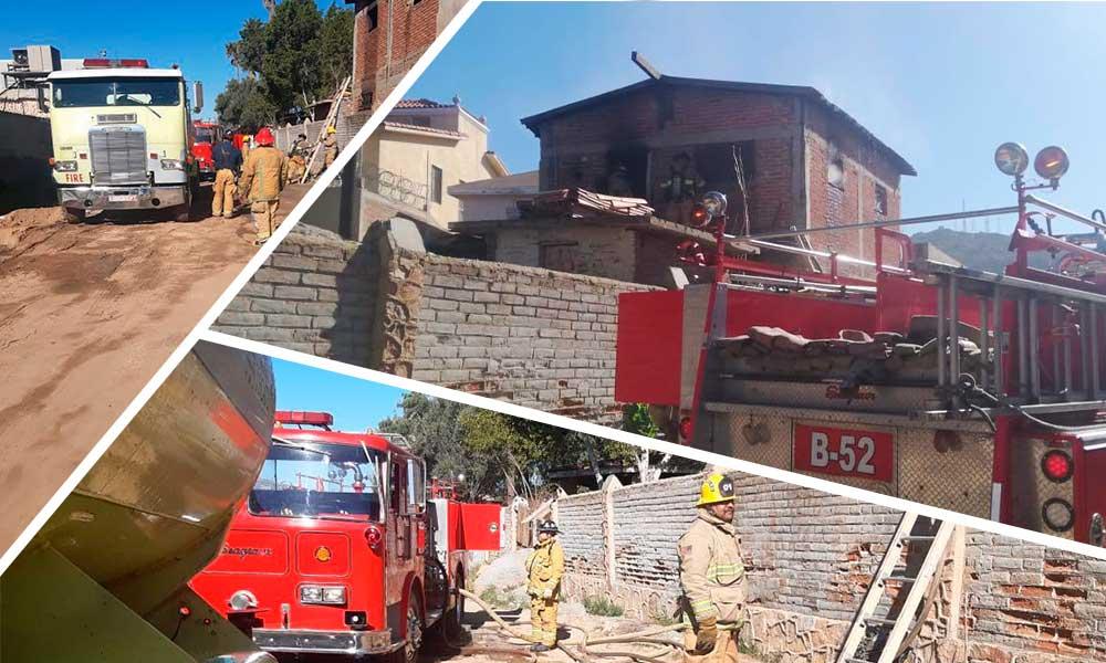 Atiende Bomberos y Protección Civil incendio en casa habitación en Tecate