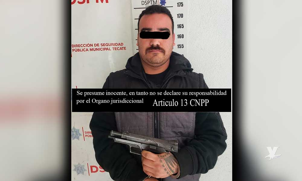 Detienen a sujeto que amenazaba con un arma a automovilistas en Tecate