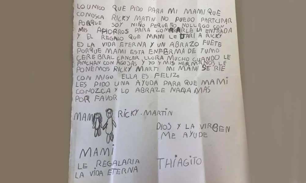 Thiago de 8 años gastó sus ahorros para que su mamá, que padece cáncer, conociera a Ricky Martin