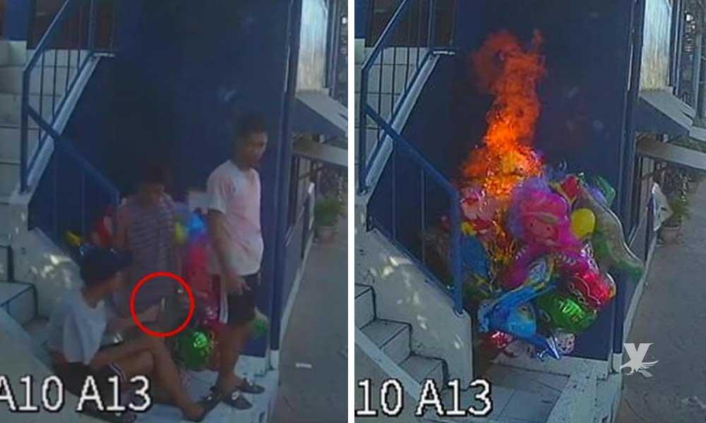 """(VIDEO) Vendedor de globos sufre quemaduras graves por """"broma"""" de 4 adolescentes"""