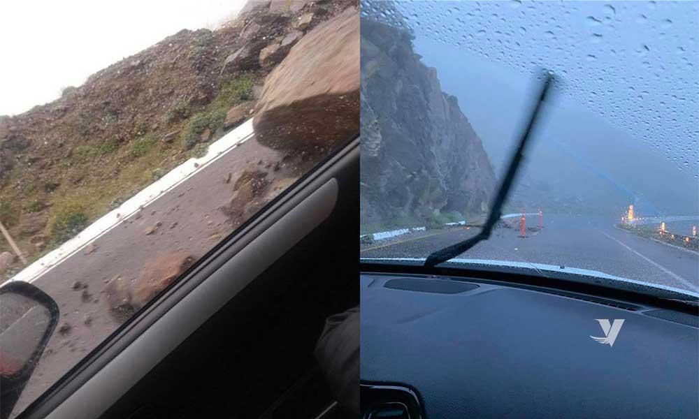 Advierten por derrumbes en tramo carretero Centinela – La Rumorosa