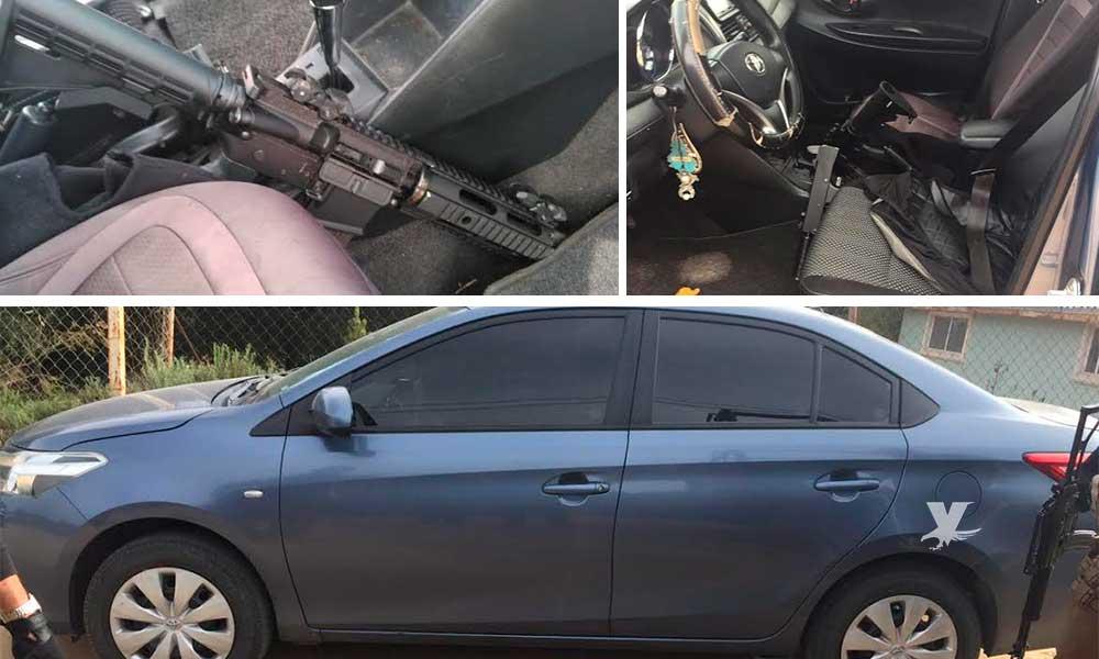 Encuentran vehículo con reporte de robo con armas en su interior en Tecate