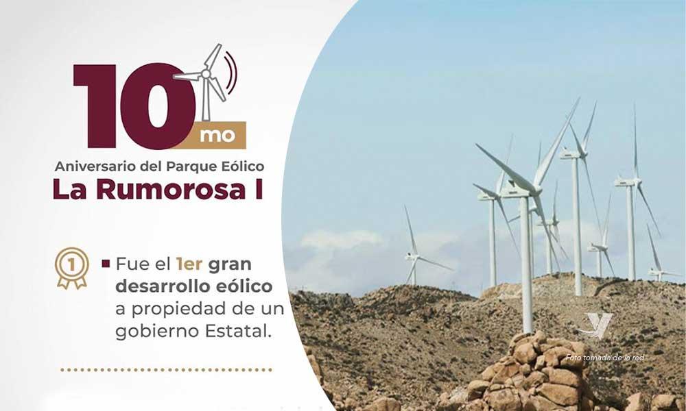 """Cumple 10 años el parque eólico """"La Rumorosa"""" en Tecate"""