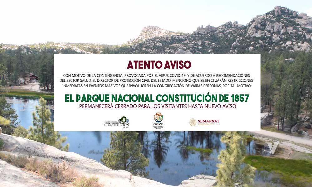 Cierran Parque Nacional Constitución de 1857 hasta nuevo aviso