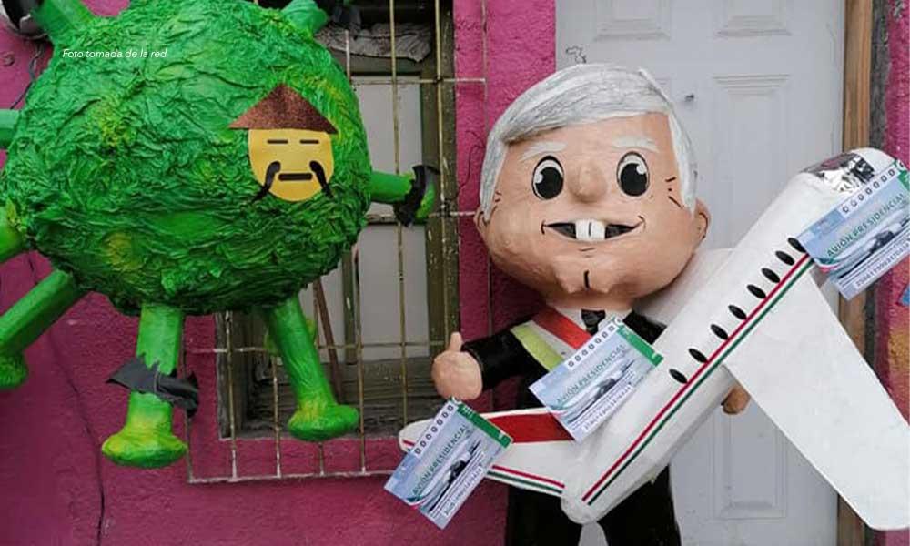Piñata del Coronavirus y piñata de AMLO con su 'cachito' se hacen virales