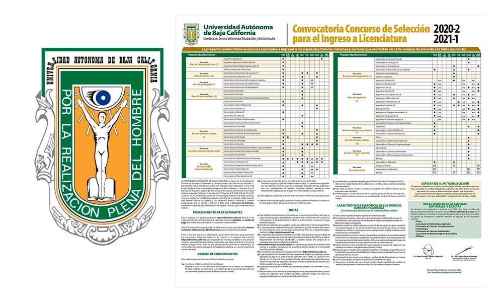 UABC publica su convocatoria de nuevo ingreso para el periodo 2020-2 al 2021-1