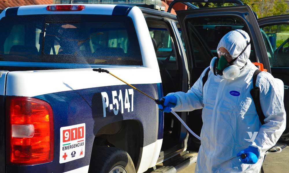 Desinfectan instalaciones de Seguridad Pública de Tecate
