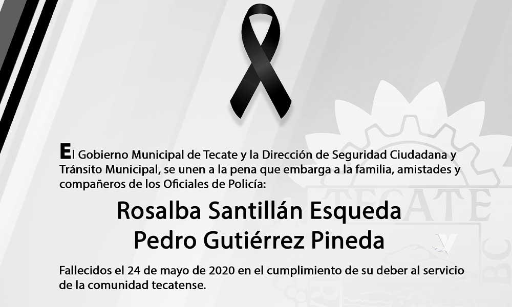 Condena XIII Ayuntamiento de Tecate muerte de oficiales de policía