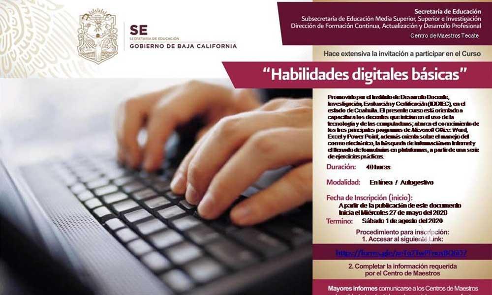 Secretaría de Educación de B.C. convoca a docentes de Educación Básica a participar en cursos en línea