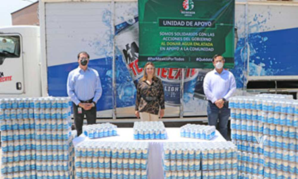 Recibe XXIII Ayuntamiento de Tecate donación de agua enlatada por parte de la empresa Heineken México