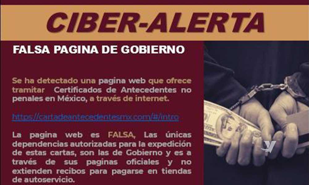 Detectan pagina web falsa para tramitar carta de antecedentes penales