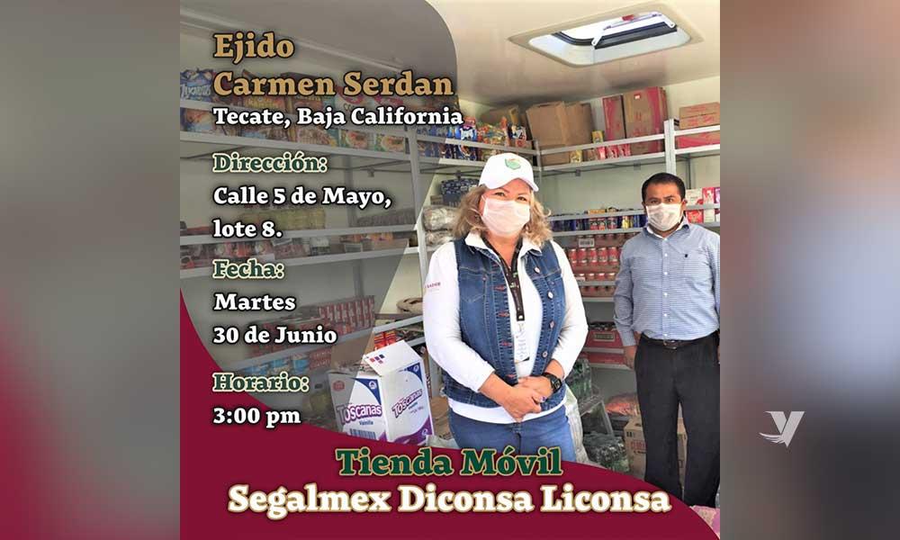 Tienda móvil de Diconsa-Liconsa estará este martes en el Ejido Carmen Serdán de Tecate