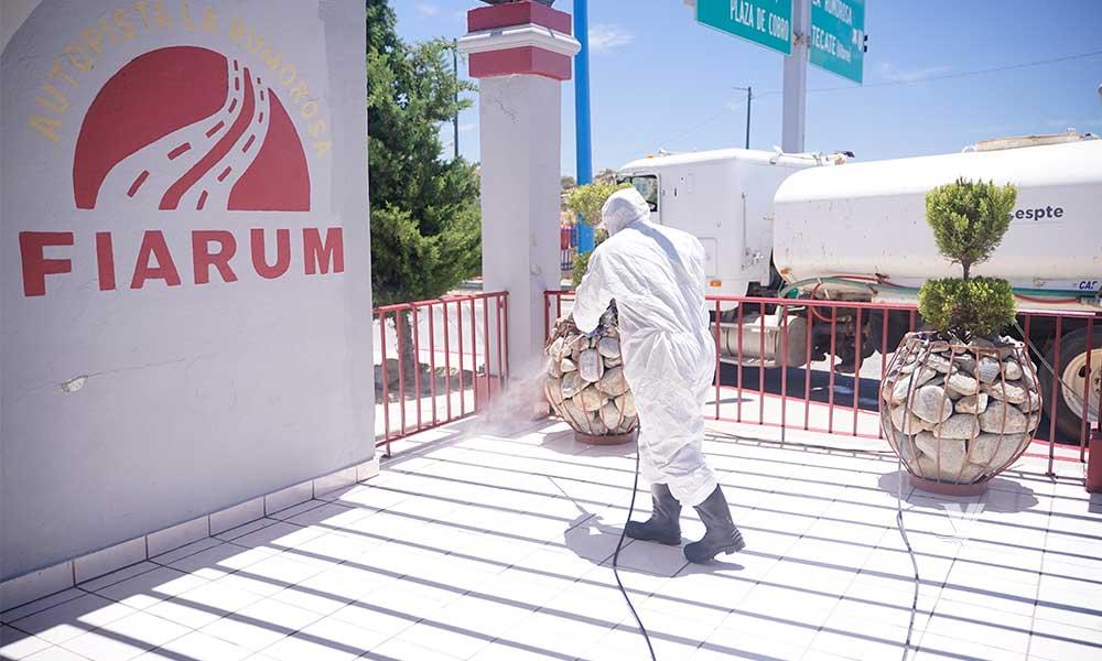 Sanitiza CESPTE espacios comunes en zona rural de Tecate