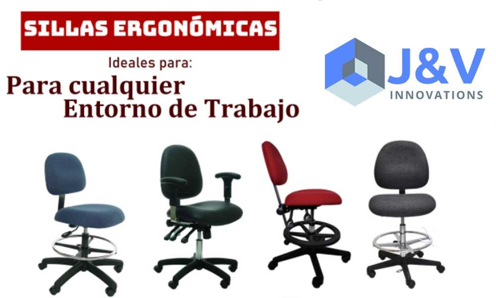 J&V Innovations, especialista en sillas para oficina, áreas de producción, áreas de cuarto limpio y áreas de control de estática (ESD)