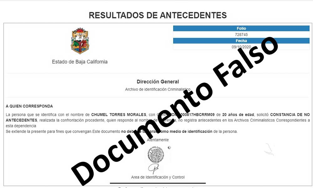 Detecta Gobierno de Baja California sitio que vende Actas de Antecedentes No Penales Falsas