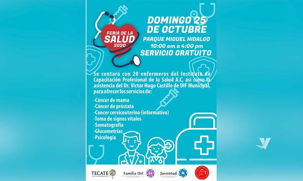 """Realizarán """"Feria de la Salud 2020"""" este 25 de Octubre en el Parque Miguel Hidalgo"""