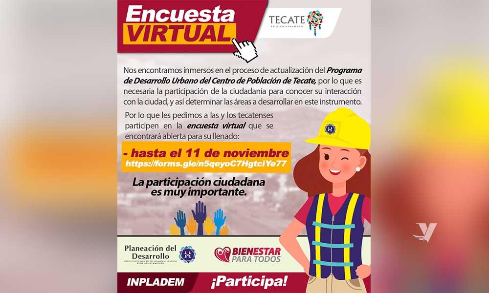 Invita INPLADEM a participar en la encuesta virtual para actualizar el Programa de Desarrollo Urbano del Centro de Población de Tecate