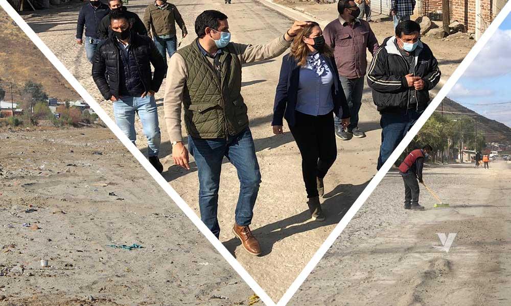 Supervisa alcaldesa, Olga Zulema Adams Pereyra,  avances de obra de pavimentación en diversas calles del municipio y limpieza de Río Tecate