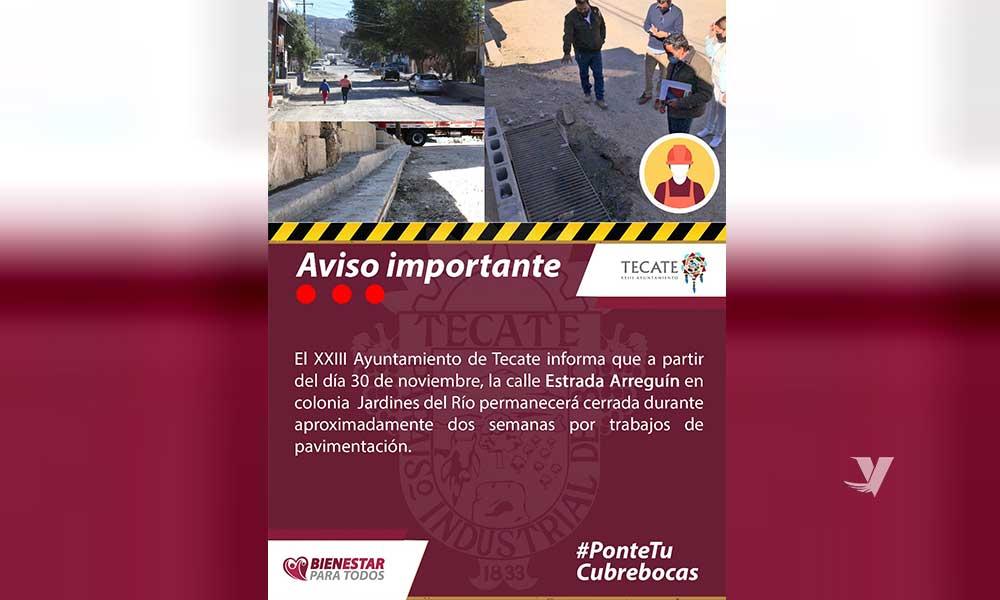 Permanecerá Cerrada Calle Estrada Arreguín En Colonia Jardines Del Río Por Trabajos De Pavimentación