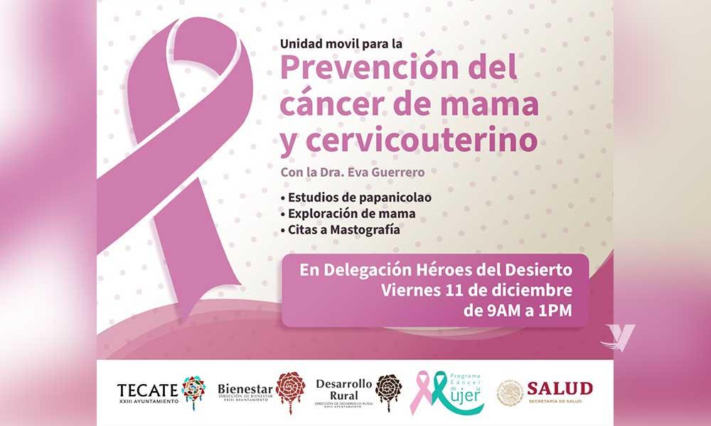 Invitan a mujeres tecatenses a unidad móvil para la prevención de Cáncer de Mama y Cérvicouterino en Delegación Héroes del Desierto