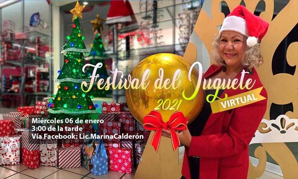 Invita Lic. Marina Calderón al festival de juguete 2021, con rifa de juguetes virtual