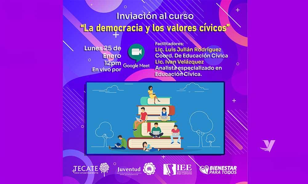 """Invita el Instituto Municipal de la Juventud a curso """"La Democracia y los valores Cívicos"""""""