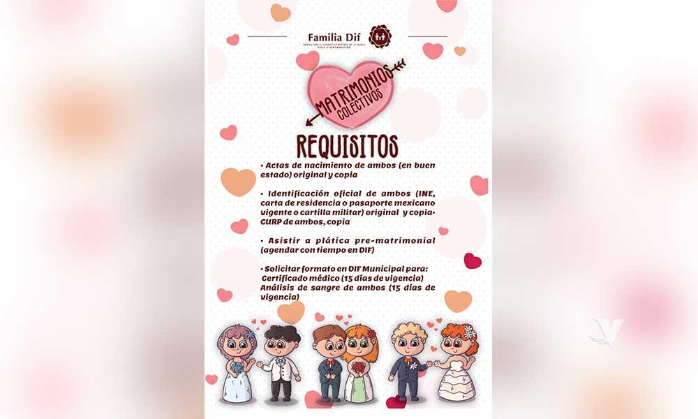 Invita DIF Municipal a registrarse en matrimonios colectivos que se llevará a cabo el día  12 de febrero con motivo de la celebración  del día  del amor y la amistad