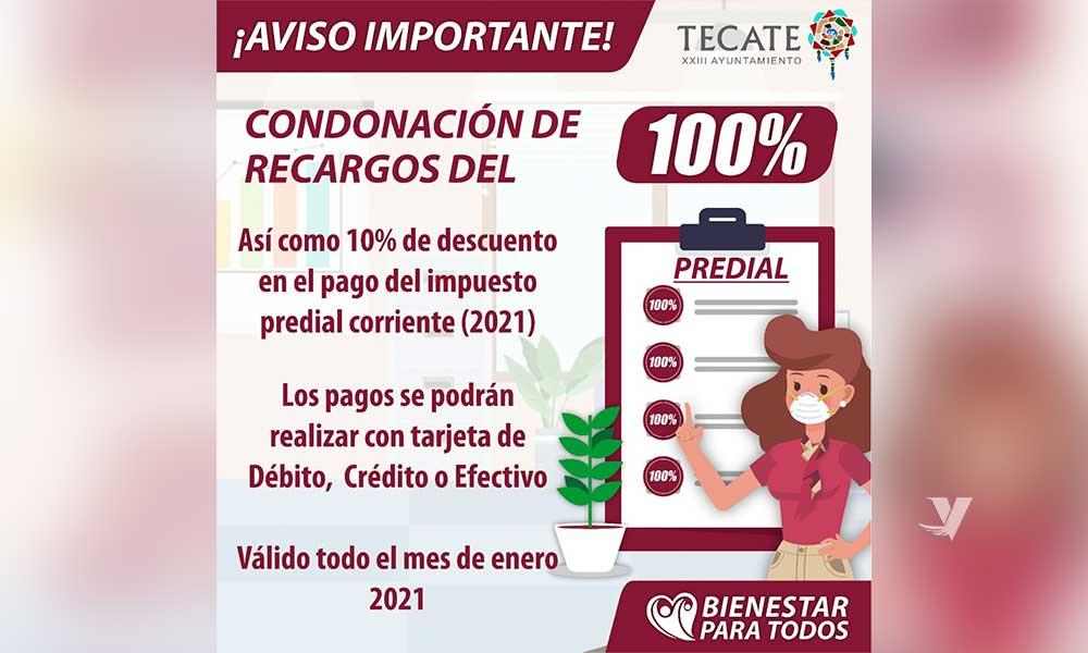 Condonación del 100% de recargos y 10% de descuento en pago del impuesto predial
